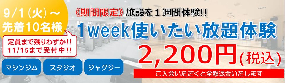 9/1(火)~先着10名様《期間限定》 施設を1週間体験!! 1week使いたい放題体験 2,200円(税込) ご入会いただくと全額返金いたします